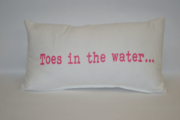 pillow - vintage beach - 10 x 20 - toes in the water pink
