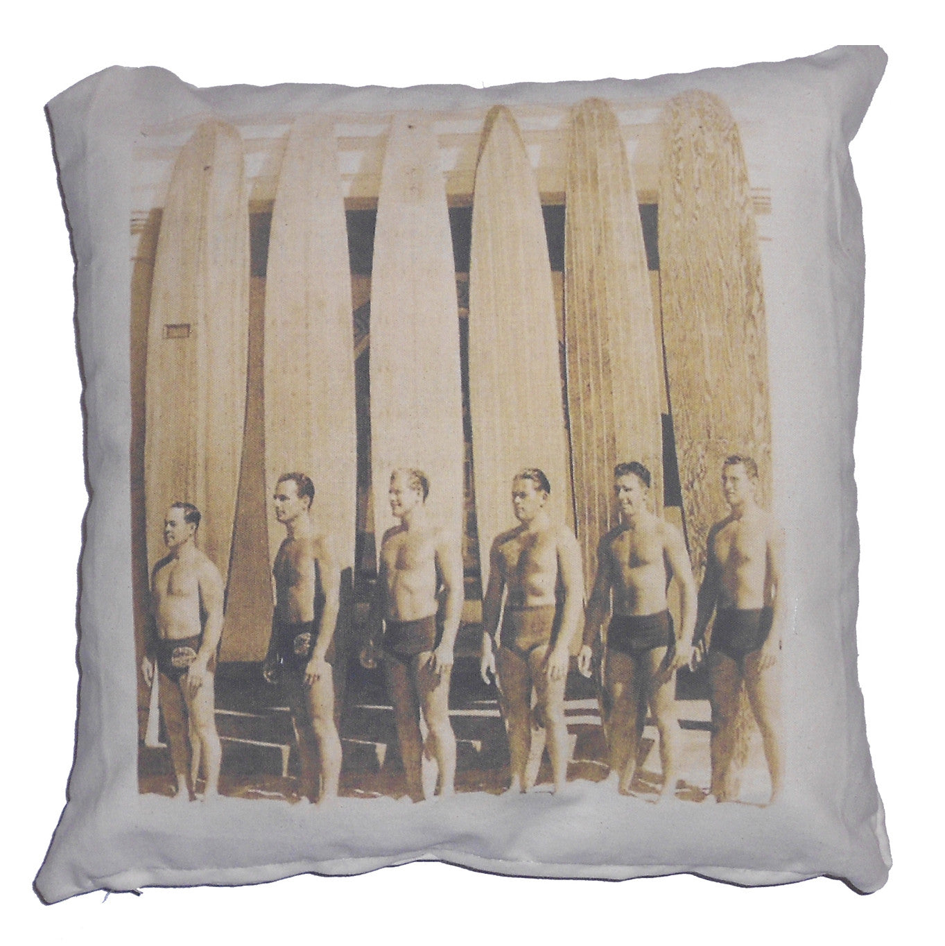 pillow - vintage beach 20 x 20 cover- surfer dudes