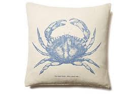 pillow - vintage beach - 20 x 20 cover with blue crab print