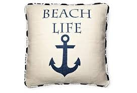 pillow - vintage beach - 20 x 20 beach life piped