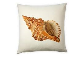 pillow - vintage beach - 20 x 20 cover with shell print
