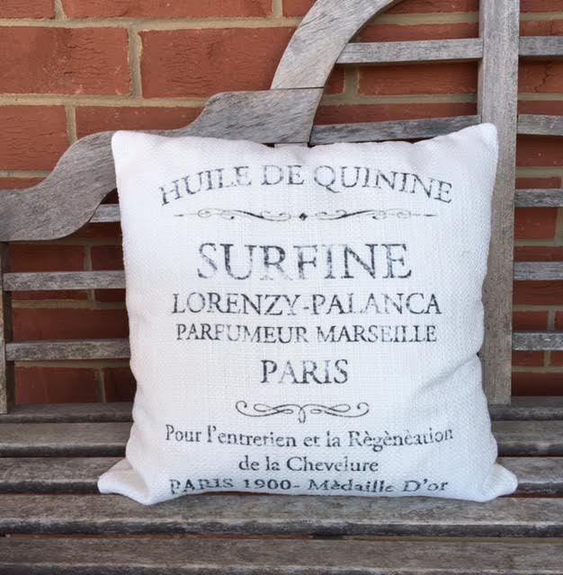 pillow 20 x 20 cover - charcoal French words on nubby bleach