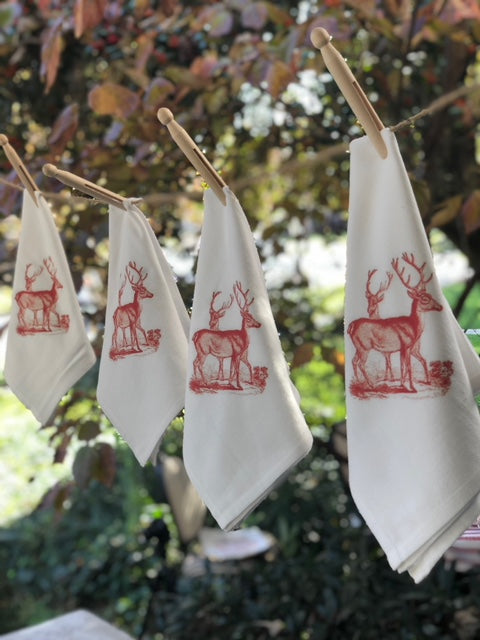 Flour sack napkins- set of 4- red deer image