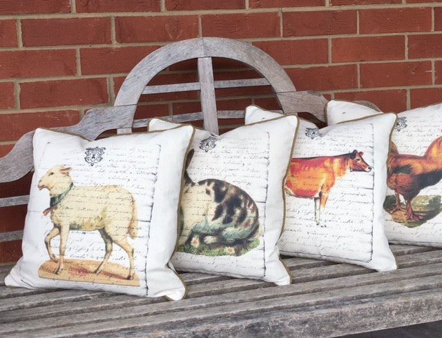 pillow cover - farm house collection - pick from 4 animals