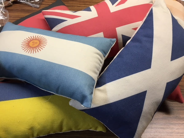 Flag pillows from our world- select from images available