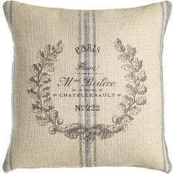 pillow cover- 20 x 20 classic marine with paris crest