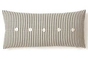 Pillow 10 x 20 cover black ticking with buttons