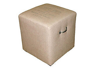 cube ottoman - nubby sand with charcoal french words