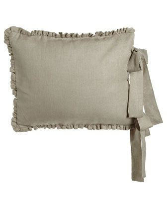 Sham - long tie in nubby natural linen