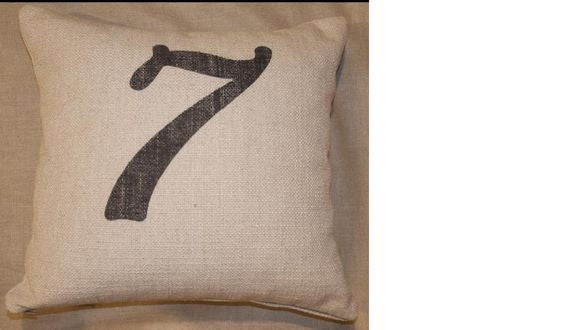pillow 20 x 20 - nubby sand with printed number 1 - 10