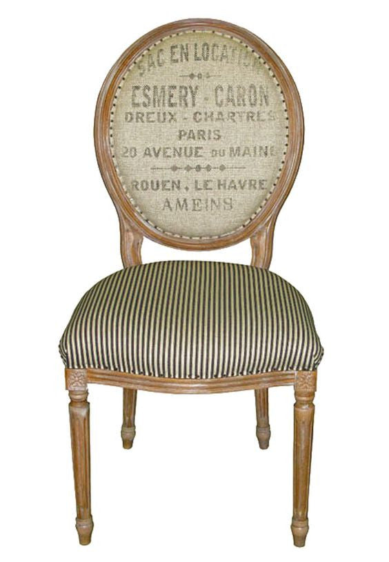 Oval Black Dining Chair with French words