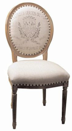 Oval back Dining Chair with French crest