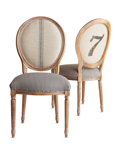Oval Back Dining Chair with numbers