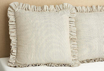 Sham Euro Ruffled- brown ticking