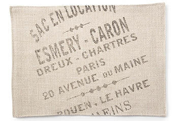 Brown Printed French Words Placemats