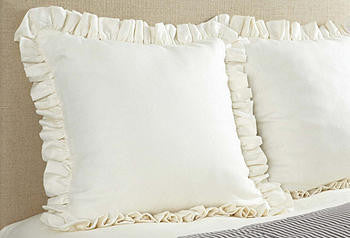 Sham Euro Ruffled-cream linen
