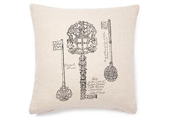 pillow cover -vintage keys