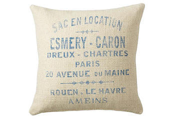 pillow cover- French Words - marine