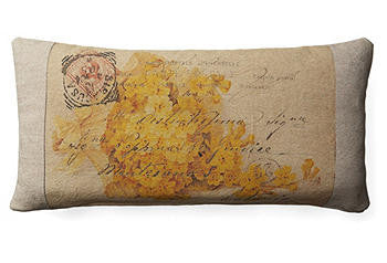Pillow 10x20- Post Card with yellow flowers