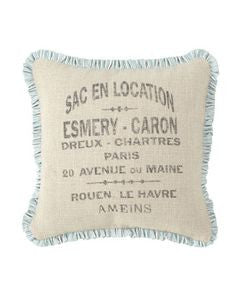 pillow cover - french words with spa mini ruffle