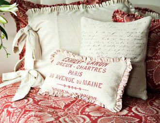 pillow 10 x 20 red french words with mini ruffle