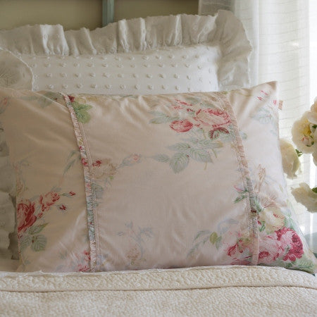 sham - vintage rose floral - standard or king