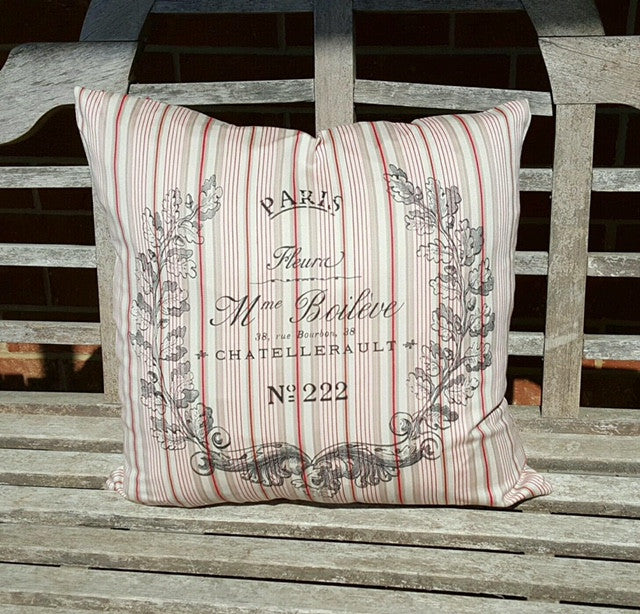 Pillow cover -French Crest on Vintage inspired stripe