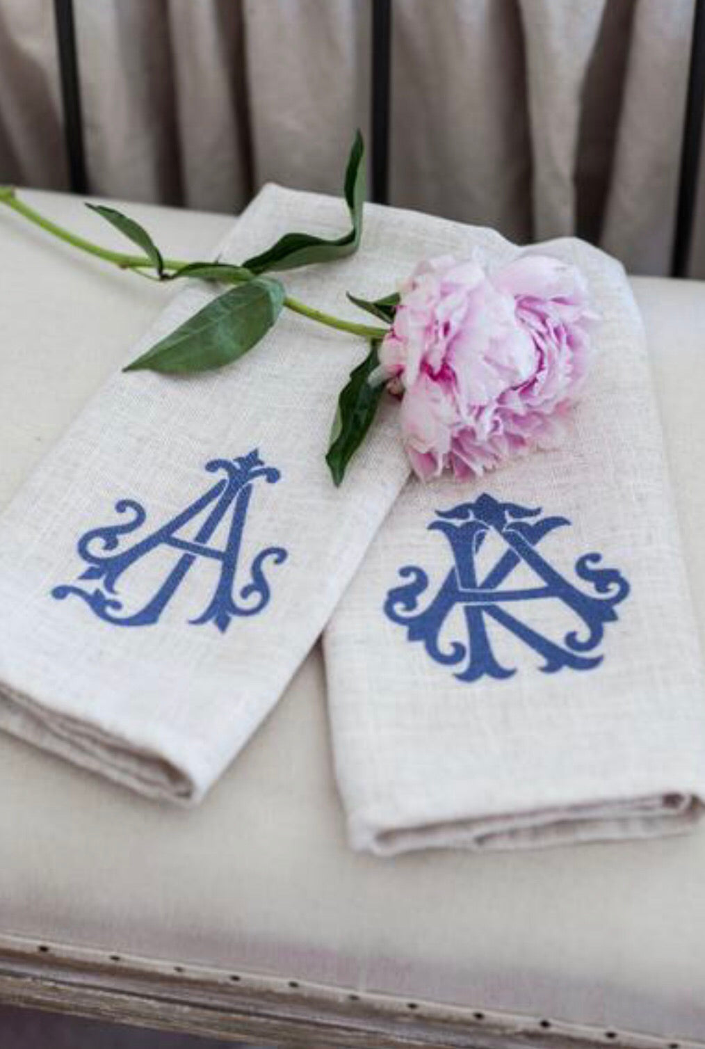 Blue Monogram Cafe Towels