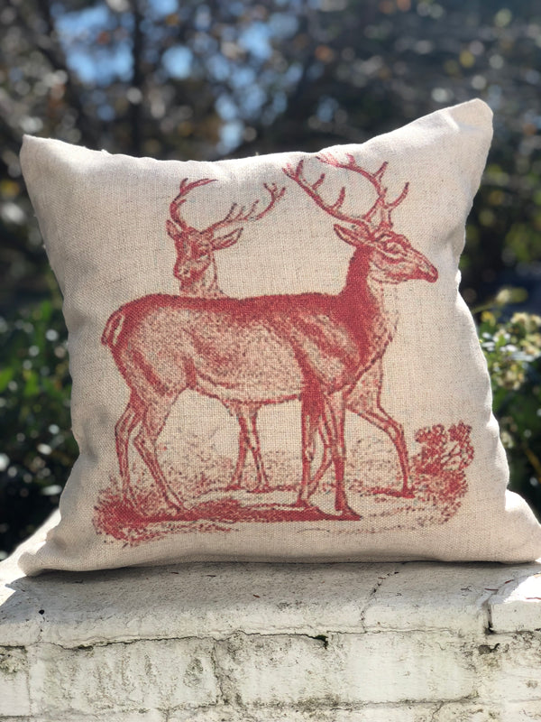 Vintage Inspired Deer Pillow covers - select from 2 styles