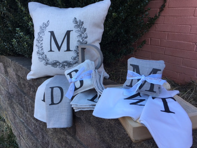 monogram gift selection- Cream linen- select from 3 items