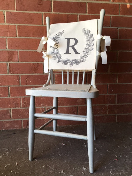 chair backs -  with printed mongram A - Z