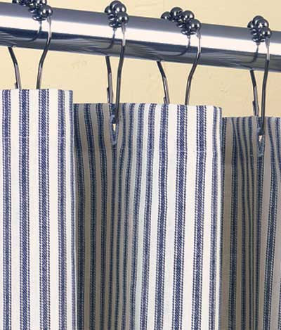 shower curtain- blue ticking