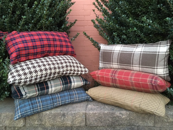 Plaid pillow cover  assortment - 10 x 20's and 20 x 20's -select from 7 fabrics