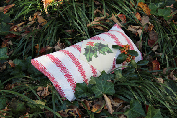 Holly patch on feedsack fabric Cover