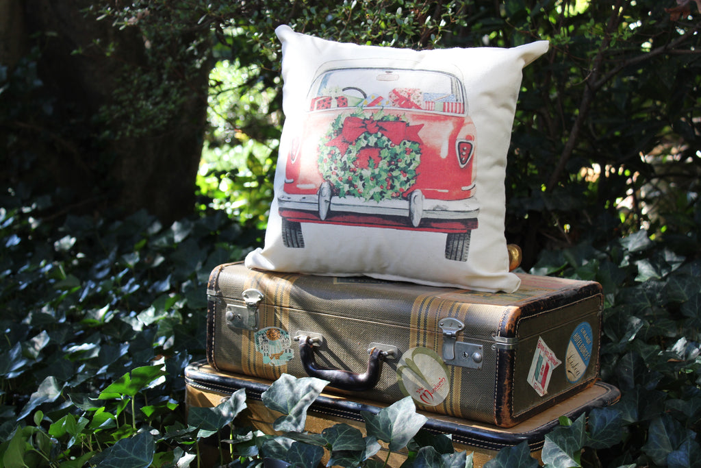 Nash Metropolitan Christmas Car pillow cover