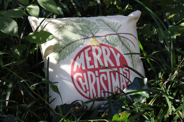 Merry Christmas printed ornament pillow cover