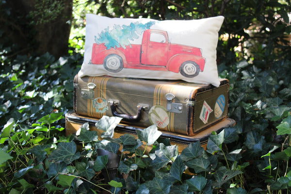 Red Christmas Truck Pillow Cover