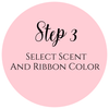 Select candle scent and ribbon color at Premier Personalized Candles