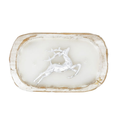 Dough Bowl Candle - White - Silver Reindeer