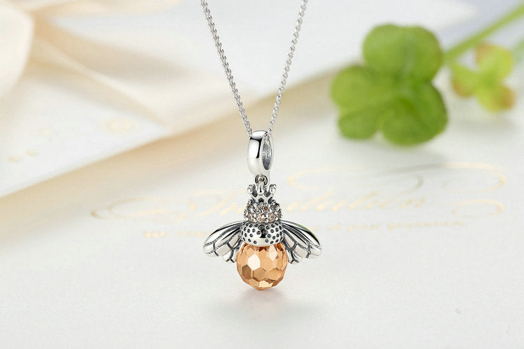 Sterling silver orange bee pendant necklace purely pam bee pendant necklace orange cubic zirconia wsterling silver chain aloadofball
