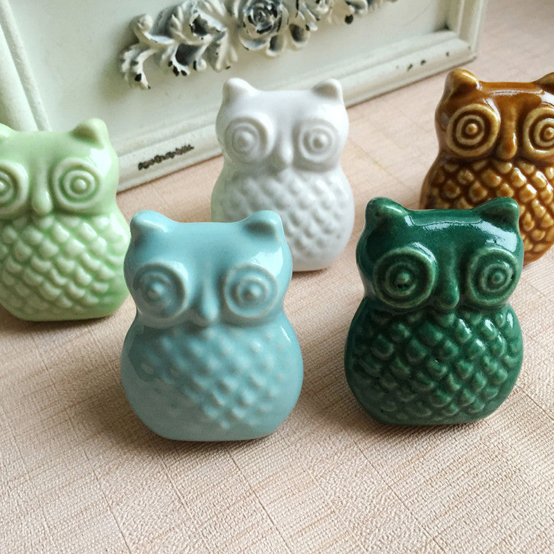 Ceramic Owl Handle/Cabinet/Cupboard/Drawer Knobs; 8 Pc. | Purely Pam