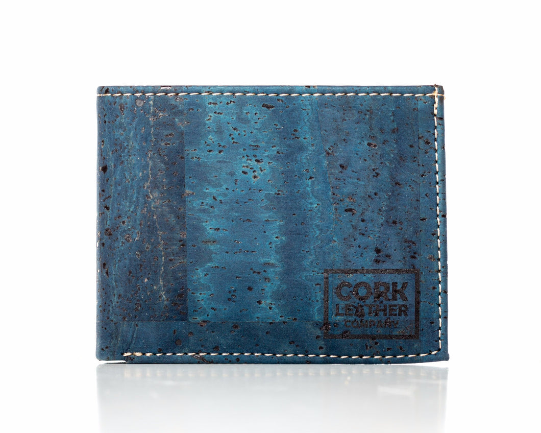 blue cork leather company bifold wallet