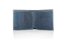 blue cork leather company bifold wallet open without cards