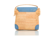blue and beige cork leather company crossbody bag with button flap and zipper enclosure backside