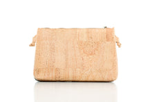 two-color cork leather company crossbody bag with zipper enclosure backside