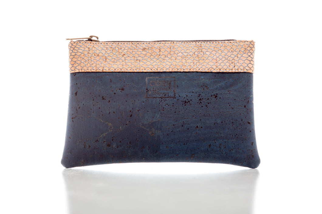 blue and beige cork leather company handbag with zipper enclosure