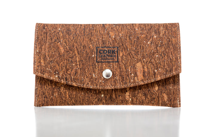 cork leather company clutch wallet with button enclosure