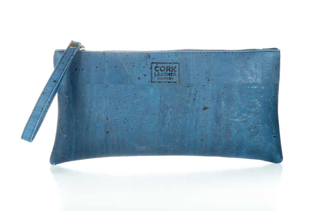 Blue Cork Leather Wristlet