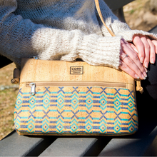 Two-color Cork Leather Crossbody Bag