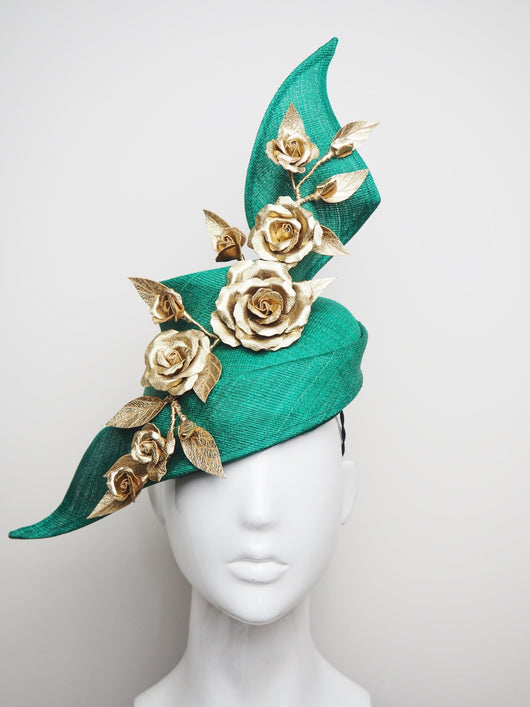 Best Foot Forward - Green Tinalak Swirl with Gold Leather Roses